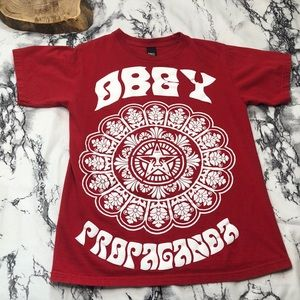 Obey Star Flower Red Graphic Tee Small